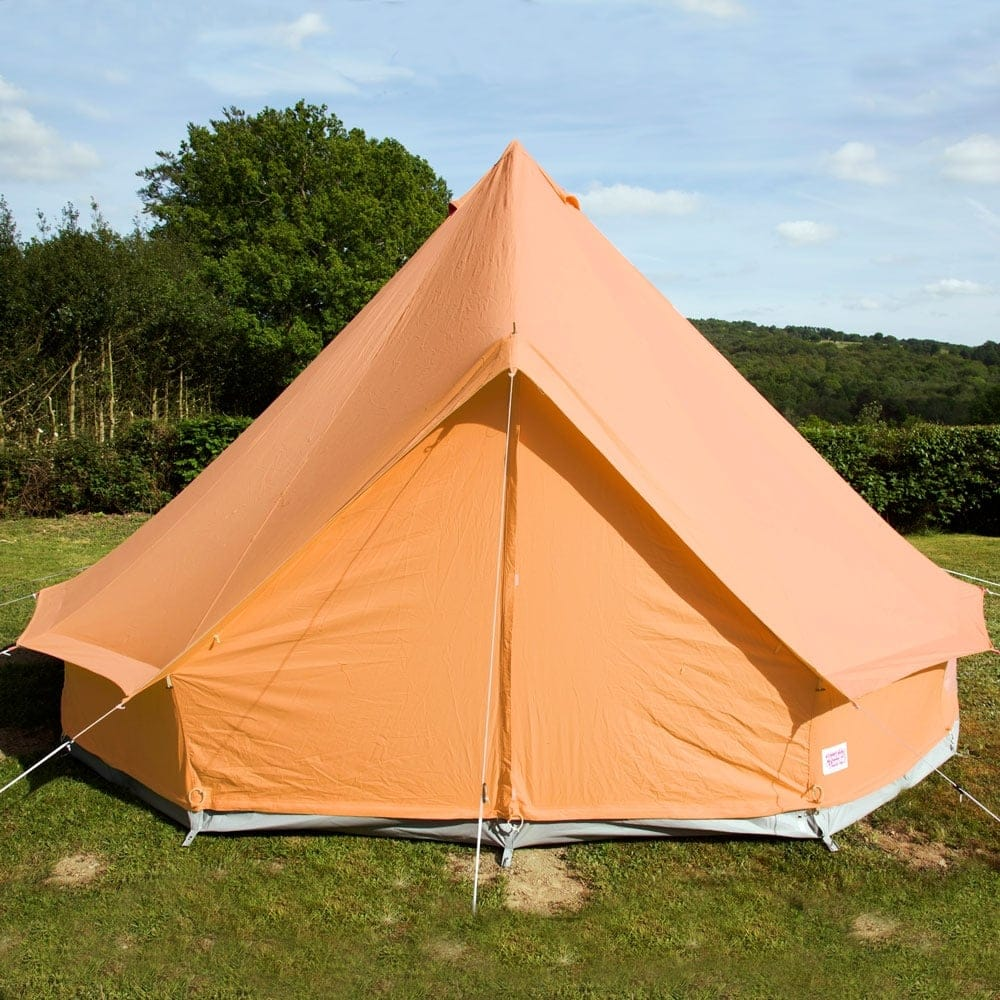 4m Tangerine Orange Canvas Bell Tent & Sky Blue Bell Tent | Boutique Camping